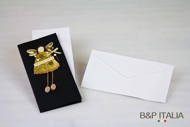 Immagine di Biglietto angelo oro grande,  cm 10x20, 20 pz